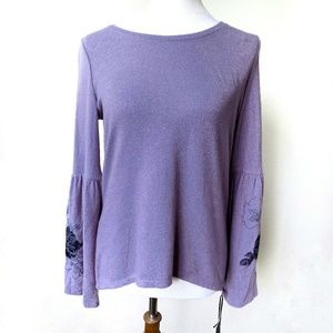 Simply Vera Vera Wang Purple Top Bell Sleeve XS